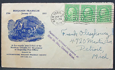 Benjamin Franklin Cachet Cover New York 1933 Received Stamp USA Brief (L-2831