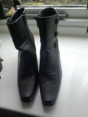 Ladies black faux leather ankle boots size 7