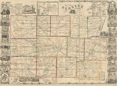 1854 Map of Genesee County NY from actual surveys Heavyweight Photo Plot
