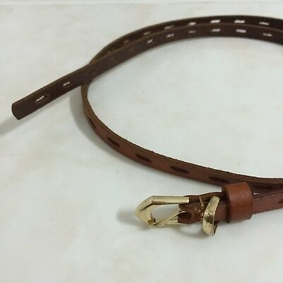 Vintage Genuine Leather Womens Belt Handmade Slide Brown Jeans Art Metal Buckle