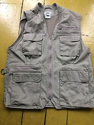 LL Bean Men's Fishing Vest Cargo Safari Photographers Vest Large Vtg