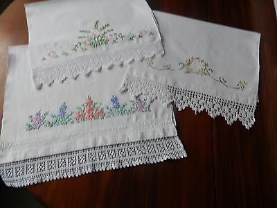 3 Lovely Vintage Huckaback Towels - Crochet Edged & Hand Embroidered