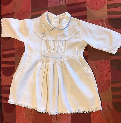 Vintage 1950s Boys 3 To 6 Months Long Sleeved, Smocked And Embroidered Top/dress