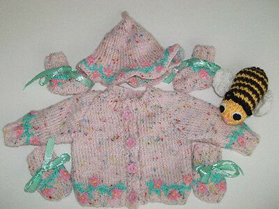 """Hand Knitted """"Garland Dreams"""" Cardigan Set & Bertie Bee Toy"""