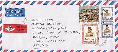 N 47 Brunei Express air 1992 cover UK; $3.30 rate; 4 stamps