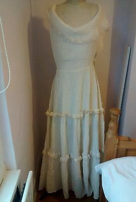 Original vintage 1970s boho ivory wedding dress size 10