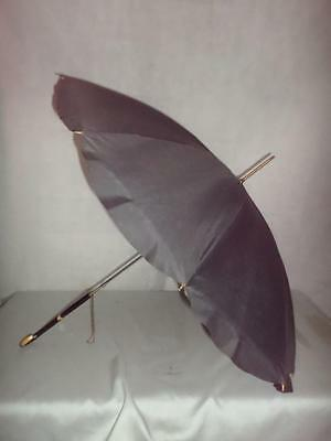 *Vintage Ladies Petite Lace Lined Umbrella w/ Inlaid Wood Handle - Black Canopy*