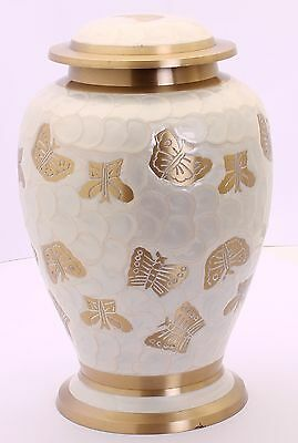 Urns for Ashes,Adult Cremation Funeral Memorial Urn Large, pearl white butterfly