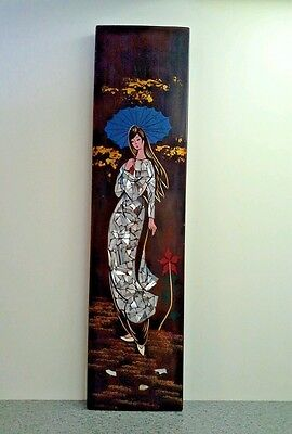 Vintage Lacquered Wood WALL DECORATION, Asian Woman with MOP Inlay