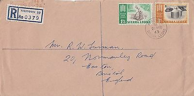 P 1425 Sierra Leone 1963 registered cover to England; 1/6d rate; 2 stamps