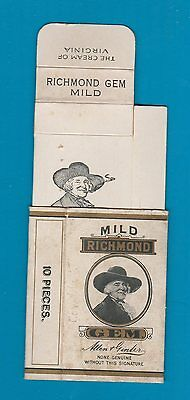 Old EMPTY cigarette packet + pictorial slide   Richmond Gem white  #355