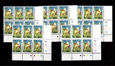 Fiji Overprint Bird Stamps : Five Different Corner Cylinder Blocks Of 6 Mnh Um