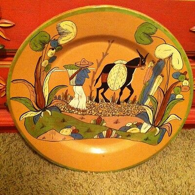 """Huge Tlaquepaque Charger 20"""" Mexican Pottery"""