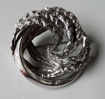 Vintage Sterling Silver Germany Tecture Effect Mordernist Style Circle Brooch
