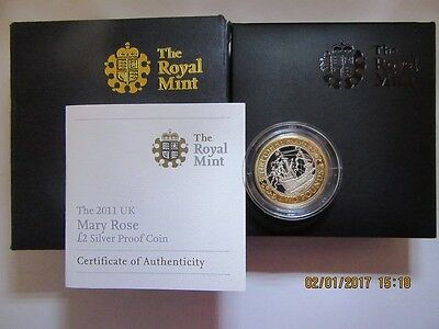 2011 - Silver Proof £2 Mary Rose with Case,  CofA and Outer Card Box