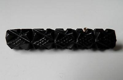 Antique VICTORIAN Style Whitby Jet? Hand Craved Bar Brooch