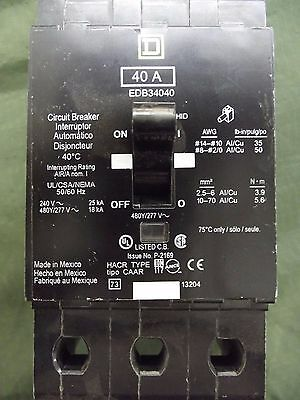 Square D EDB34040 Circuit Breaker 40A 3-Pole 277/480V USED