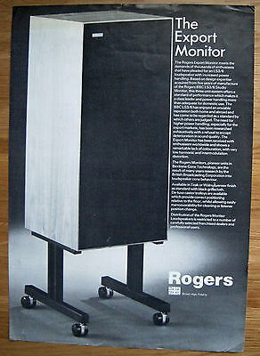 Rogers Export Monitor - Original 1970's Leaflet - Vg/excellent Condition!