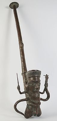 African tribal art Bamoun kingdom of Bangwa bronze pipe