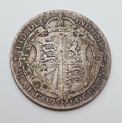 1914 - Silver Coin - Half Crown - Great Britain - King George V - English UK