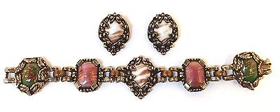 Vintage Painted Milk Glass in Antiqued Bronze Bracelet and Clip-On Earrings Set
