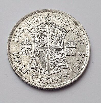 1943 - Silver Coin - Half Crown - Great Britain - King George VI - English UK