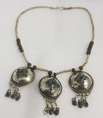 Vintage Afghan Turkmen Tribal Kuchi lapis lazuli  inlay Necklace Afghanistan