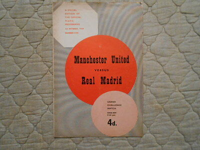 Manchester Utd V Real Madrid Grand Challenge Match Programme With Token 1960