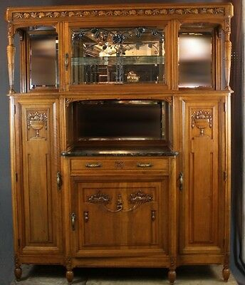 French Art Nouveau Buffet Cabinet with Marble & Iron Work
