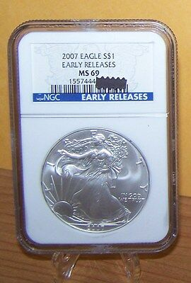 2007 American Silver Eagle--Early Release Label--NGC MS 69--Blue Label