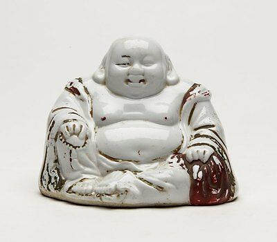 Vintage Chinese White Painted Buddha Figure 20Th C.
