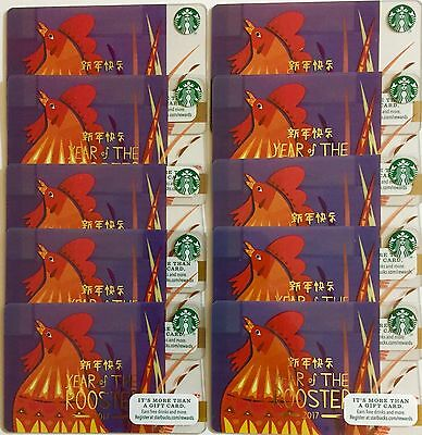 Lot of 10 Starbucks Card 2017 Year Of The Rooster CANADA VERSION NEW