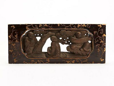 Antique Chinese Carved And Lacquered Wood Figural Panel