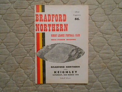 Bradford Northern V Keighley Rugby League Match Programme March 1970