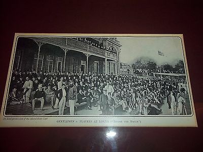 Gentlemen And Players At Lords Cricket Ground Framed Picture