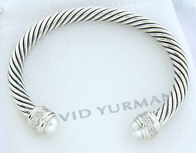 David Yurman 925 Sterling Silver 7mm Pearl Diamond Cable Classic Bangle Bracelet