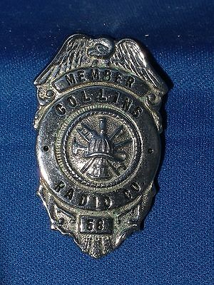 COLLINS RADIO COMPANY fire member vintage badge