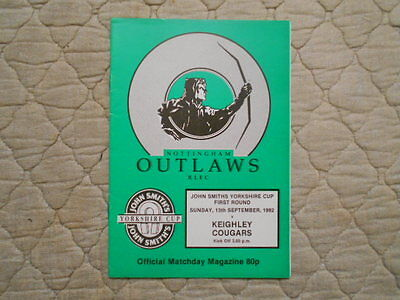 Nottingham Outlaws V Keighley Yorkshire Cup 1St Round Match Programme 1992