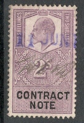 King Edward VII - 2s Lilac - Contract Note