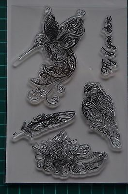 Lot de 5 Tampons transparents clear stamps oiseau plumes NEUF