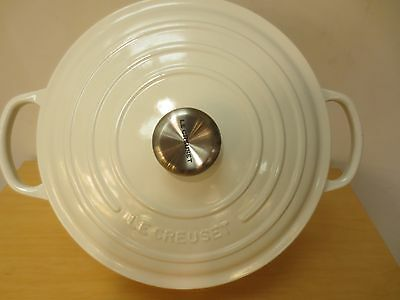 New Le Creuset Signature White 7.25 Qt Round French Oven #ls2501-2816Ss