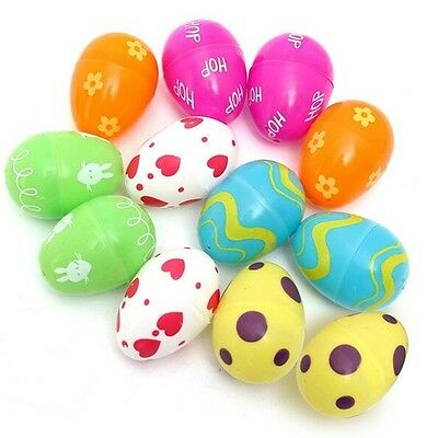 12pc Plastic Easter Eggs Bright Egg Hunt DIY Decoration Toy Christmas Kids Gift