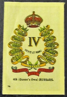 Ww1 vintage 4th Queens own Hussars Philips Military Army cigarette silk