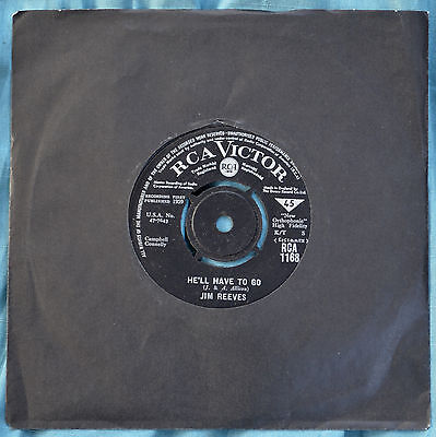 """Jim Reeves – He'll Have To Go / In A Mansion Stands My Love 7"""" – RCA 1168 – VG"""
