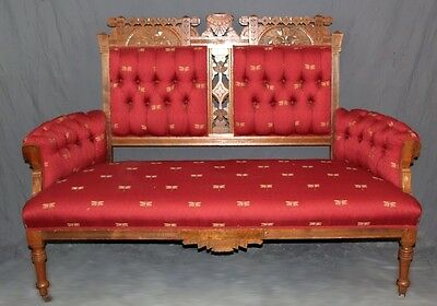 American Eastlake Walnut Settee with Tufted Red Upholstery