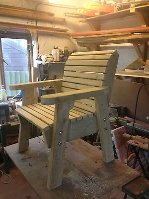 Wooden Garden Furniture, Solid, Tanalised, Roll Top Chair