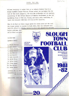 1981/2 Slough Town v Staines Town (26 Dec, Postponed) + Hayes, both Isthmian Lge