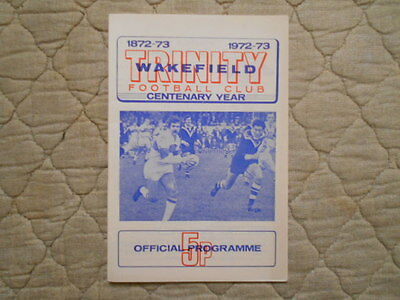 Wakefield V Castleford Rugby League Match Programme 1972