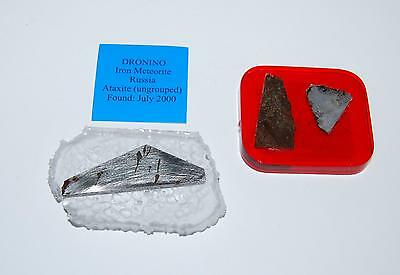 METEORITES 3 Slices in Clear Resin - Dronino, Campo, GREAT for TEACHERS #2487 6o