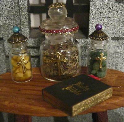 ANNOINTING TRIO - holy elements & BIBLE Tudor medieval priest handmade NEW